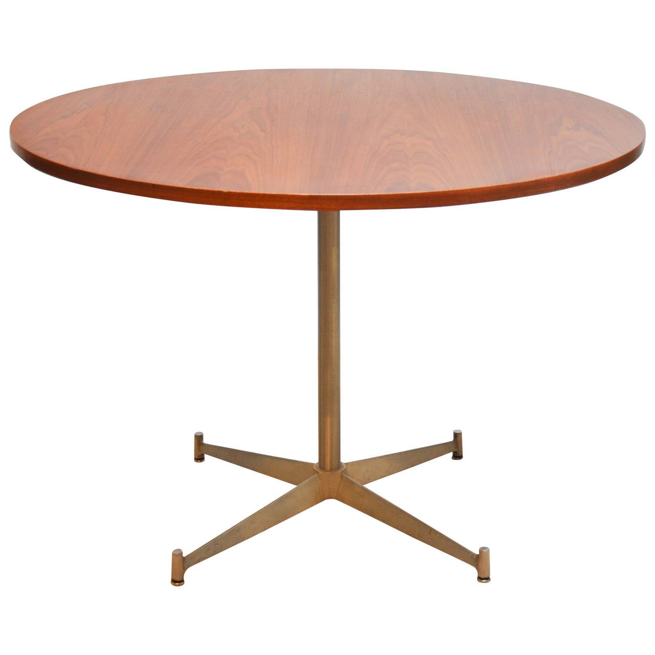Paul McCobb Round Walnut And Alumninum Dining Table For Directional At