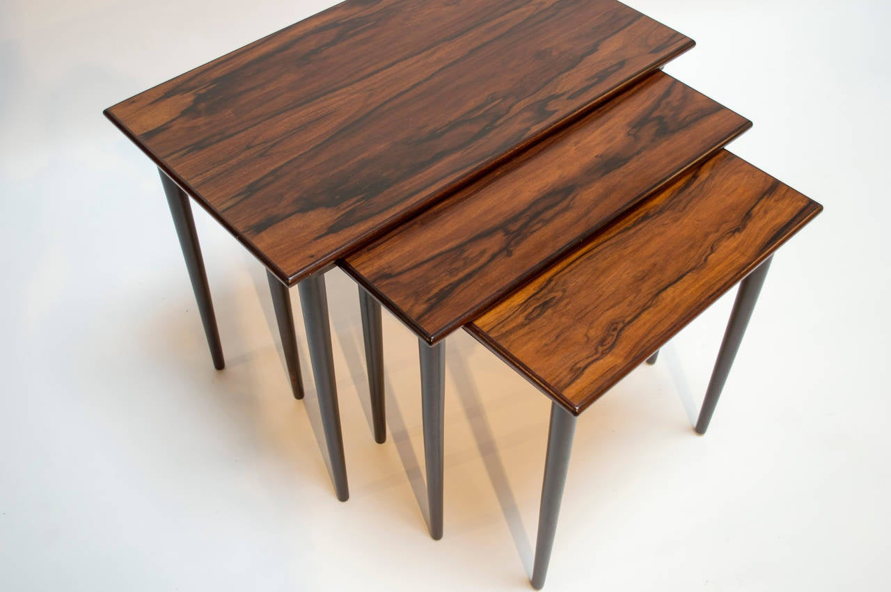 Set Of Scandinavian Rosewood Nesting Tables By Westnofa At 1stdibs. Full resolution  photo, nominally Width 1280 Height 851 pixels, photo with #A45C27.