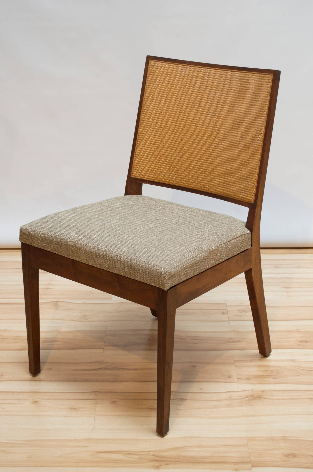 Set of Six Walnut and Cane Dining Chairs by John Kapel for Glenn