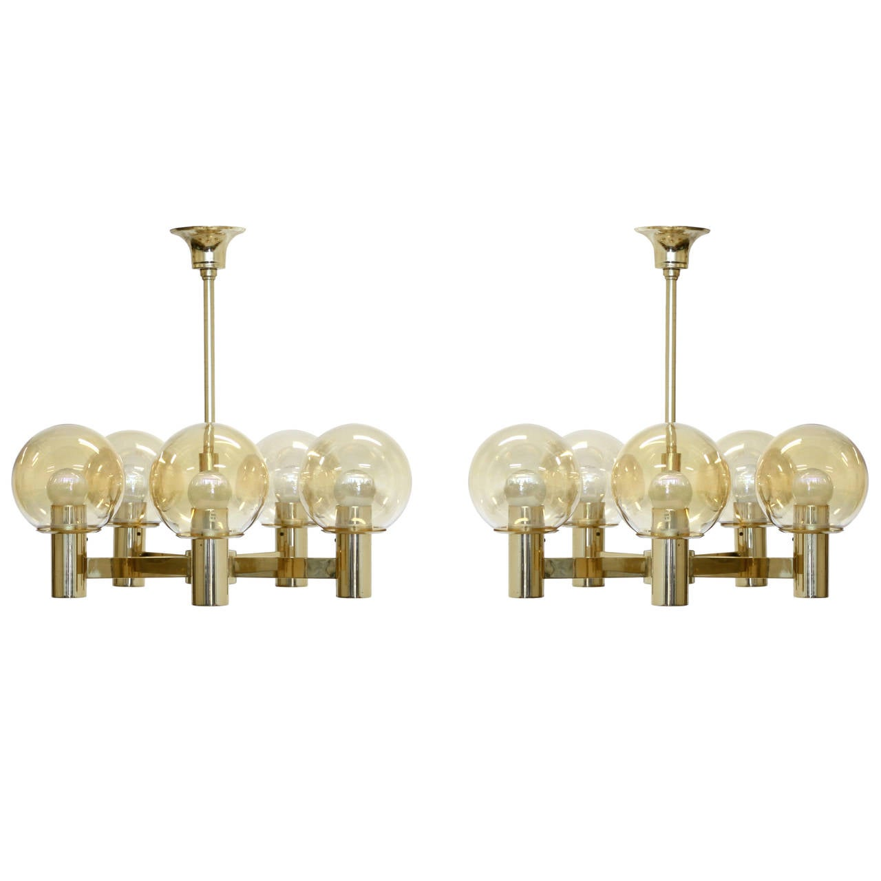 Pair of Brass Chandeliers by H vik Lys at 1stdibs – Brass Chandeliers