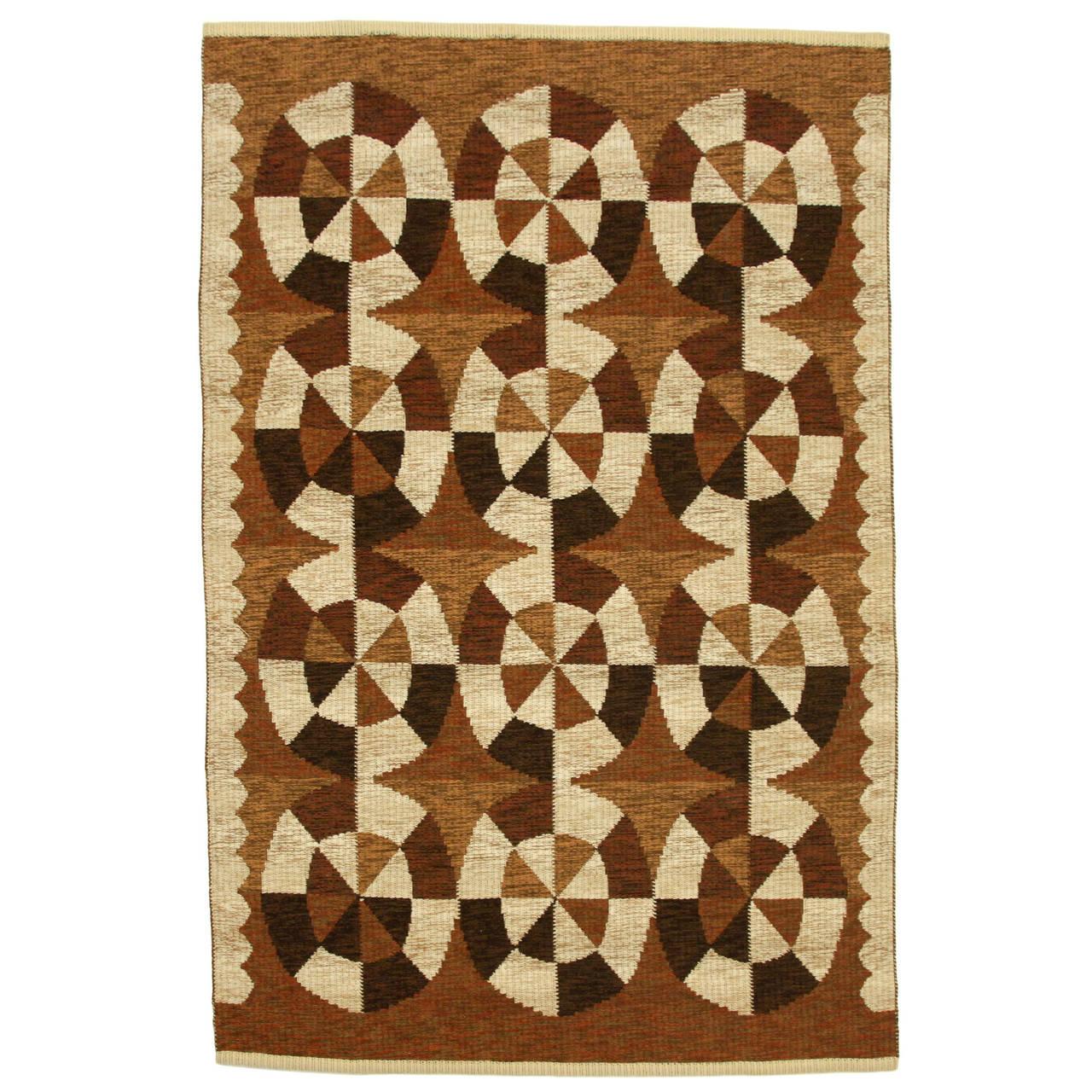 Geometric Mid Century Swedish Flat-Weave Rug At 1stdibs