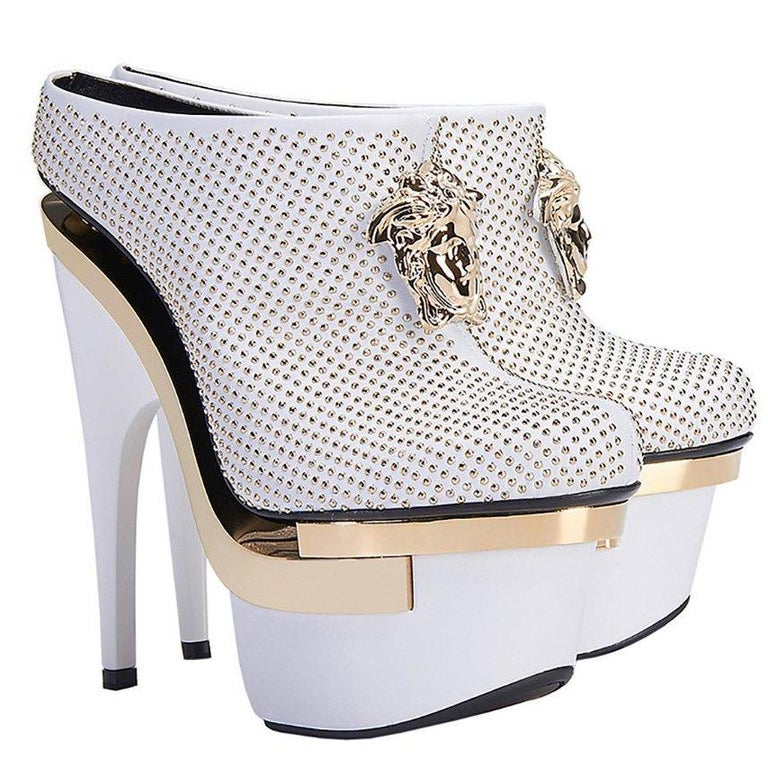 5c0bc943363 Gray VERSACE White Leather Triple Platform Studded Bootie For Sale