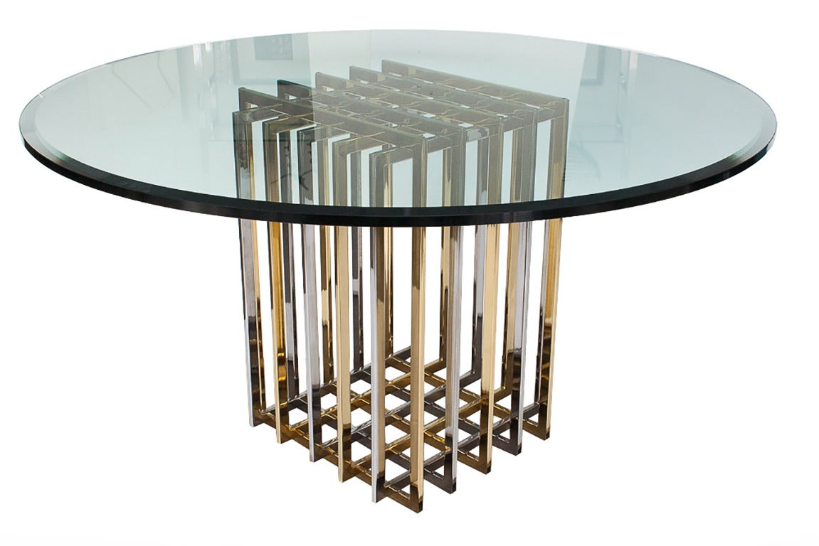 Pierre Cardin Chrome And Brass Pedestal Dining Table 2