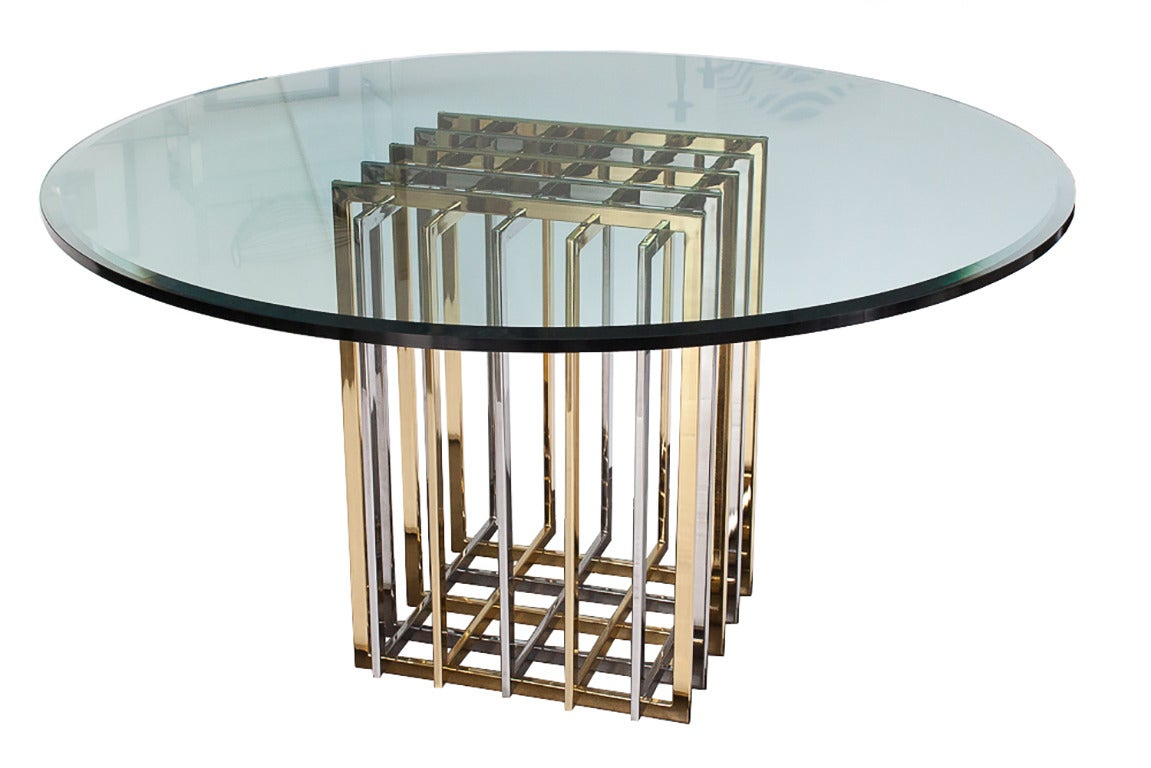 Pedestal Dining Table Pierre Cardin Chrome And Brass Pedestal Dining Table At 1stdibs