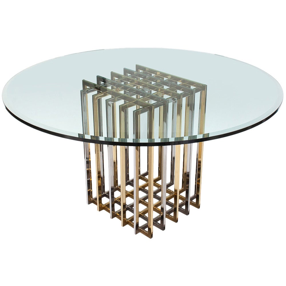 Pierre Cardin Chrome And Brass Pedestal Dining Table 1