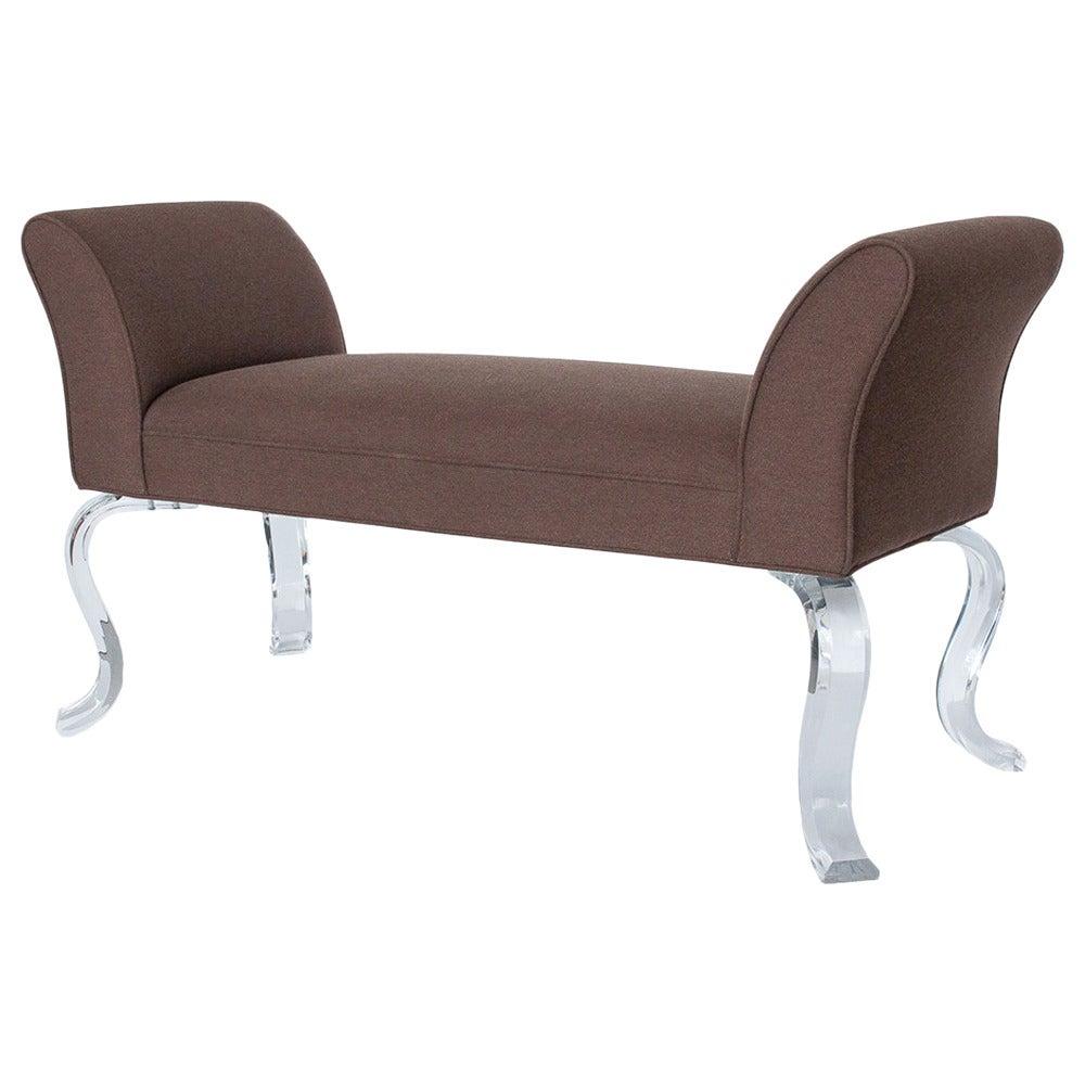 lucite leg upholstered bench by haziza at 1stdibs. Black Bedroom Furniture Sets. Home Design Ideas