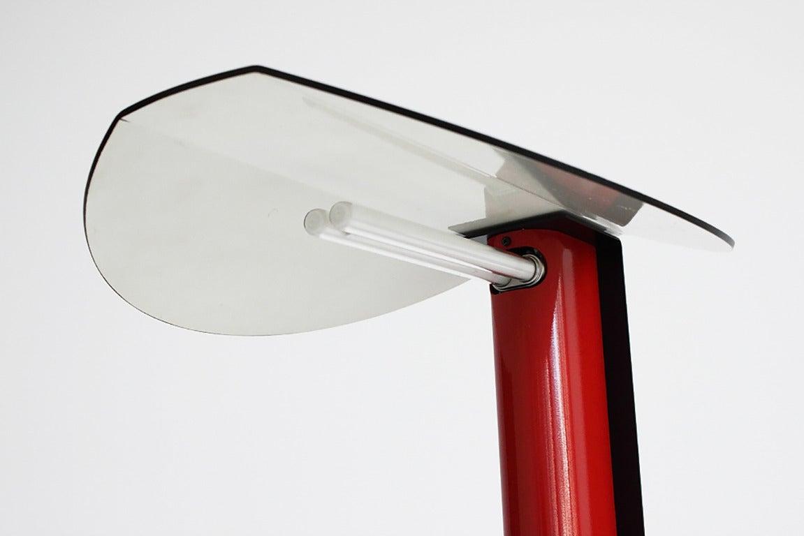 Modernist Italian Black and Red Metal Desk Lamp at 1stdibs