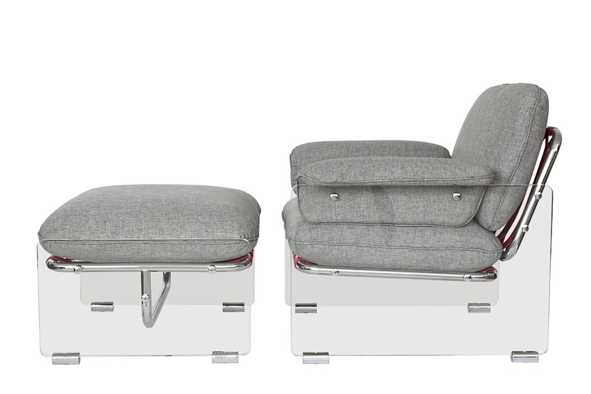pace collection argenta lucite lounge chair and ottoman 2