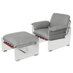 Pace Collection Argenta Lucite Lounge Chair and Ottoman