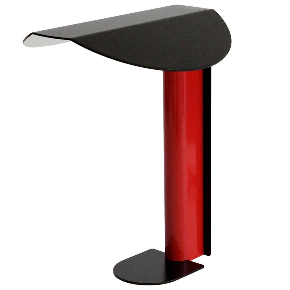 Modernist Italian Black And Red Metal Desk Lamp 1