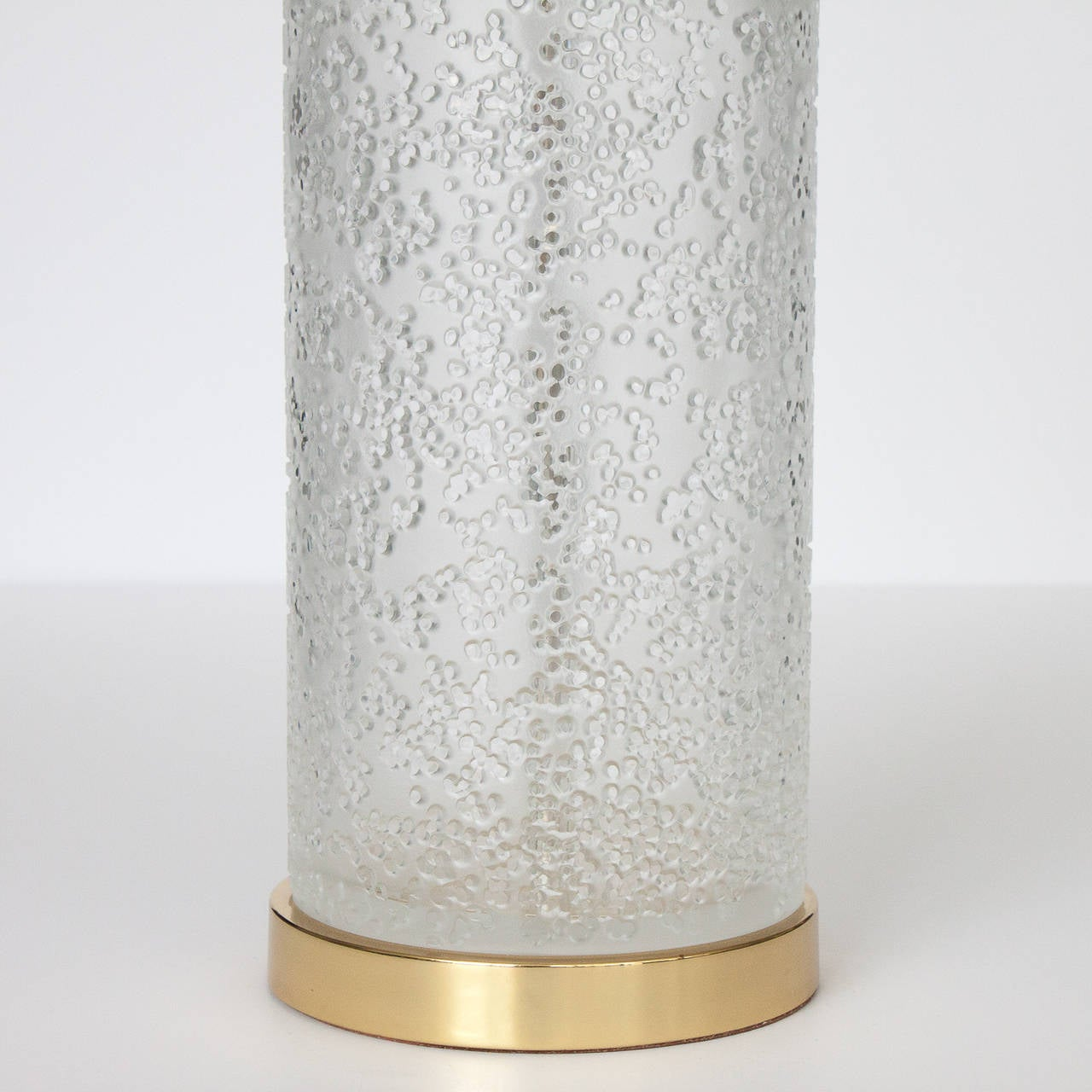 Paul Hanson Etched Glass Cylinder Brass Table Lamp For