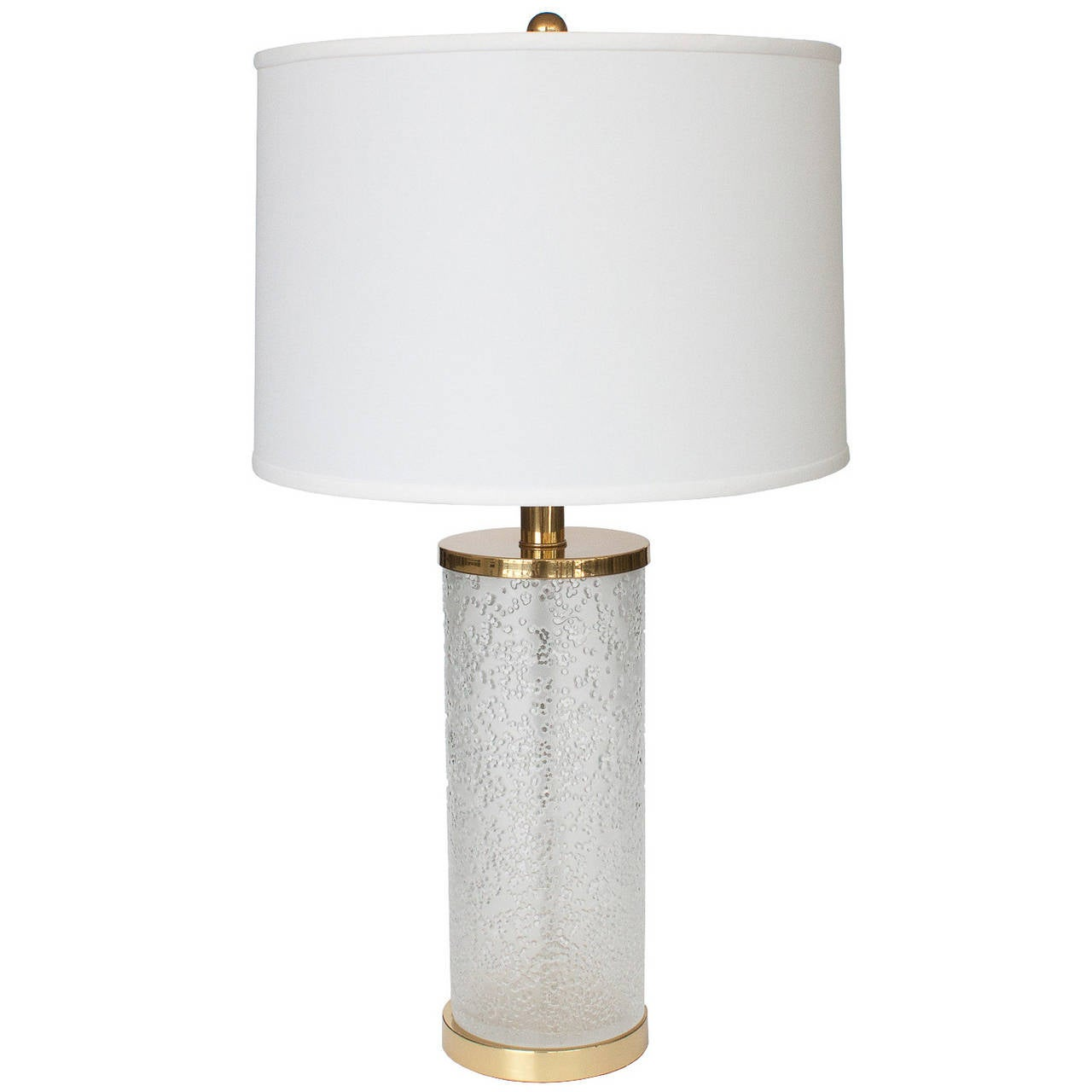 Paul Hanson Etched Glass Cylinder Brass Table Lamp For Sale