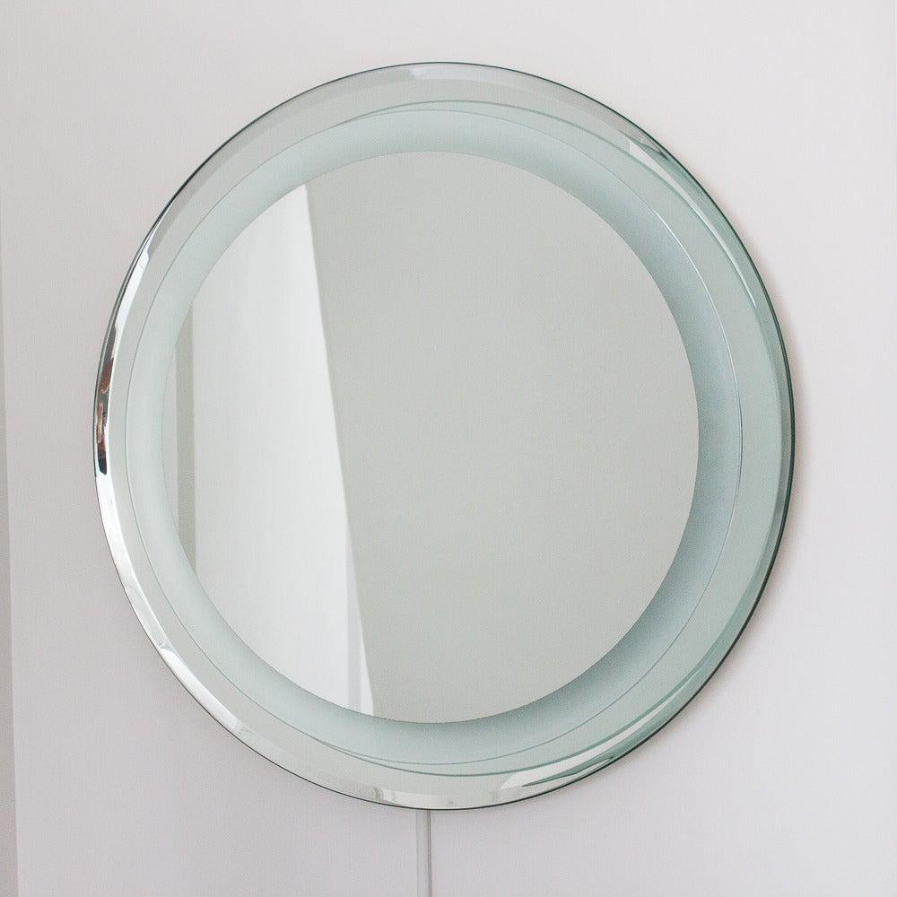 Fontana arte style round light up wall mirror at 1stdibs fontana arte style round light up wall mirror 3 aloadofball Gallery