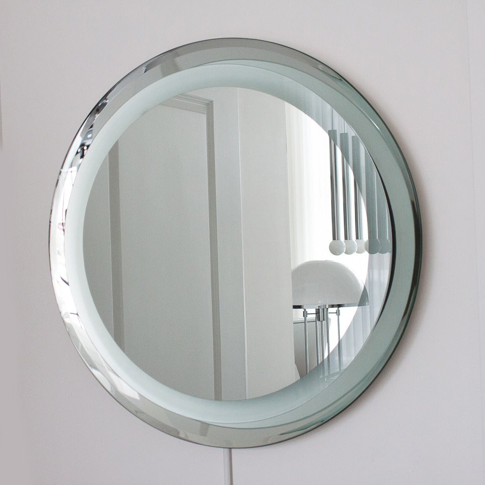 fontana arte style round light up wall mirror at 1stdibs. Black Bedroom Furniture Sets. Home Design Ideas