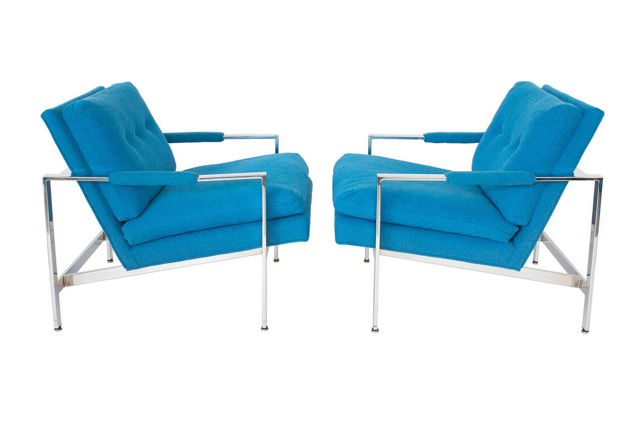 Pair Milo Baughman Chrome Flat Bar Lounge Chairs At 1stdibs