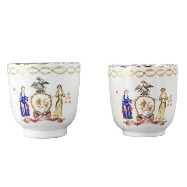 Chinese Export Porcelain Coffee Cups With Arms Of New York