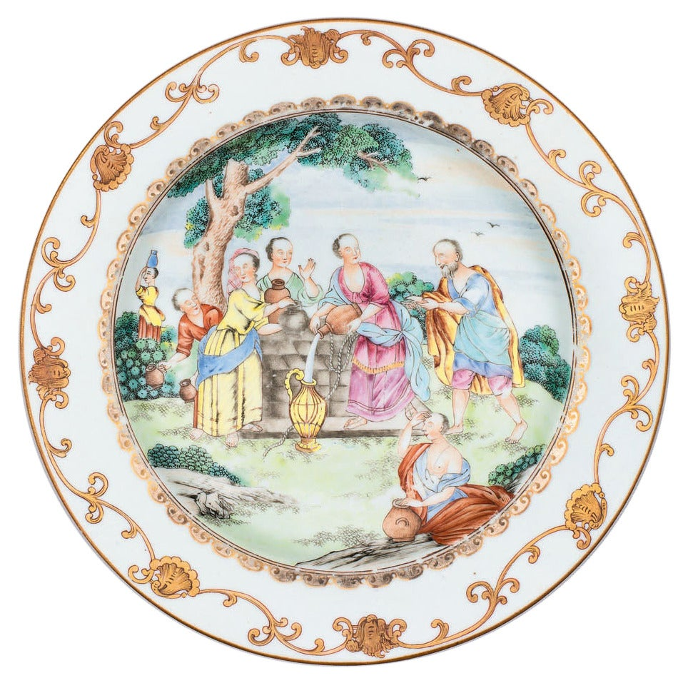 Chinese Export Porcelain Famille Rose Plate Rebecca At The Well 18th Century At 1stdibs