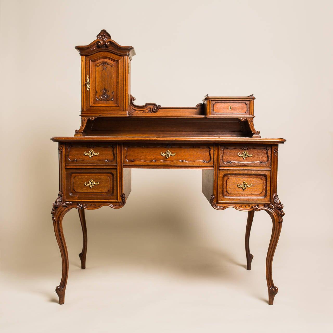 writing desk baroque revival oak wood austria circa  for sale  - writing desk baroque revival oak wood austria circa