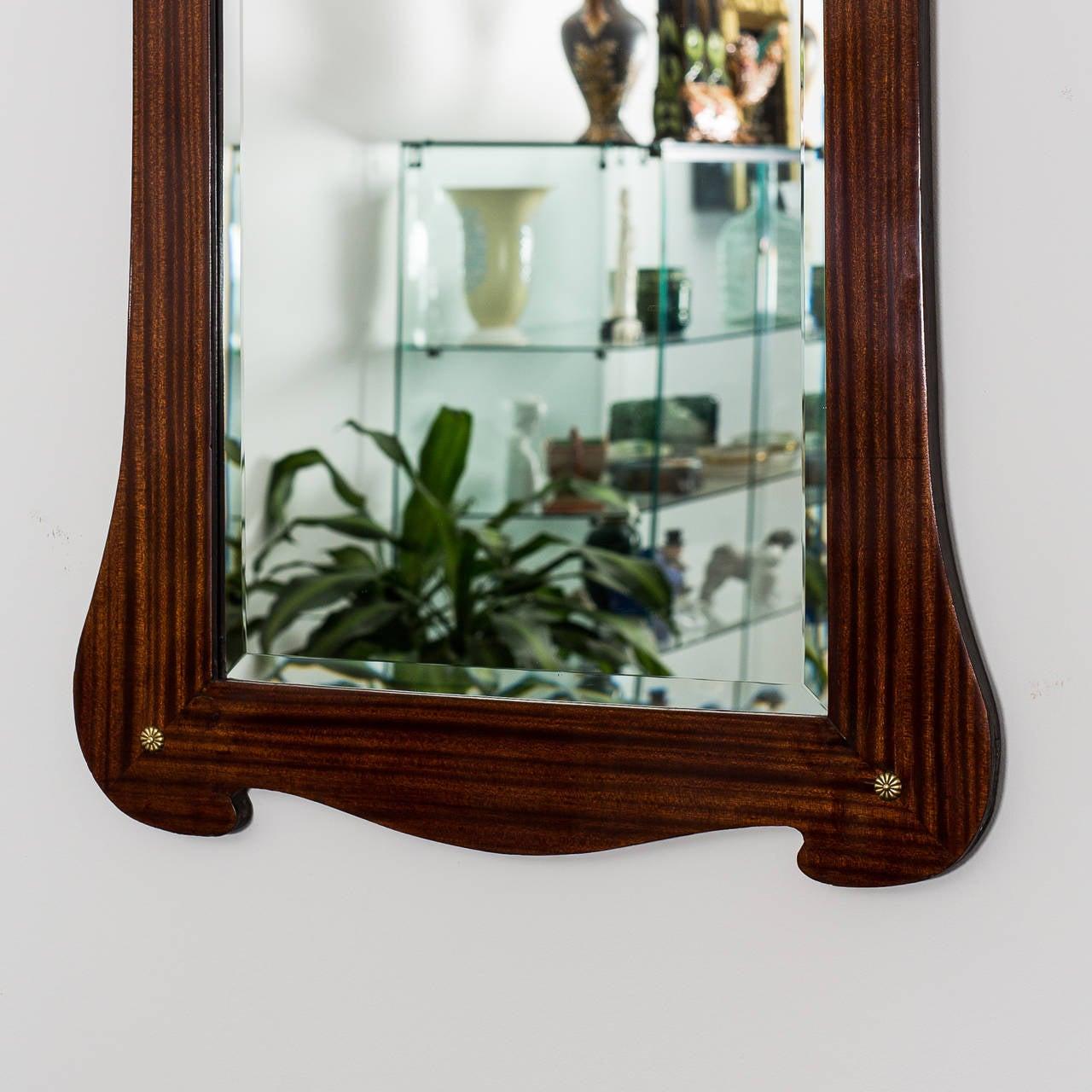 Appliqué Art Nouveau Mirror Mahogany, Austria, circa 1900 For Sale