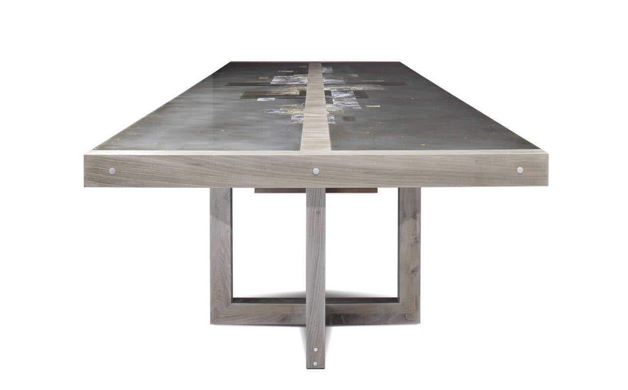 quot divided lands quot dining table in etched zinc and elm smoke 17 lands end vacation rental home the sea pines resort