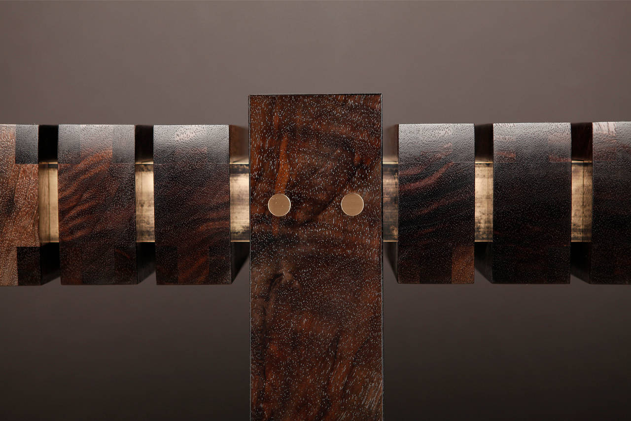 """The Bridge"" Console Table in Smoked Walnut and Etched Bronze by Studio Roeper 2"