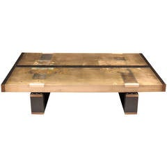 """Divided Lands"" Coffee Table in Etched Bronze and Charred Oak by Studio Roeper"