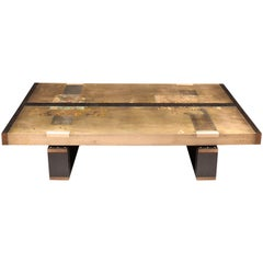 """""""Divided Lands"""" Coffee Table in Etched Bronze and Charred Oak by Studio Roeper"""