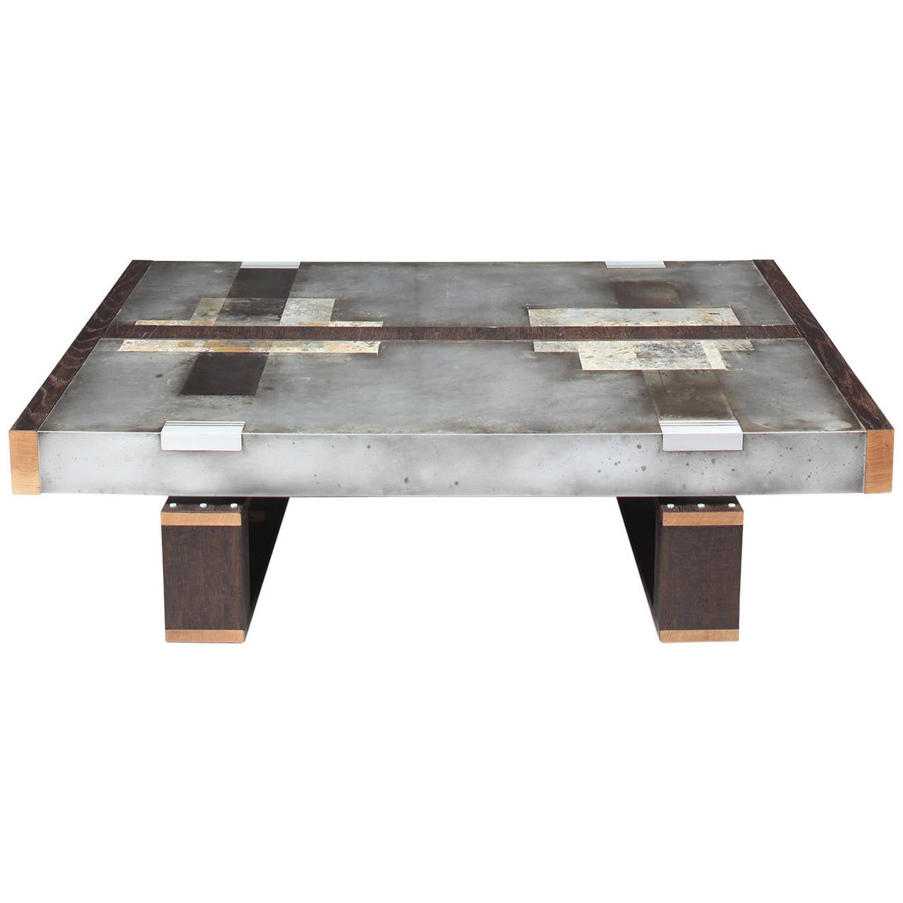 Divided Lands Coffee Table In Etched Zinc And Charred Oak By Studio Roeper For Sale At 1stdibs