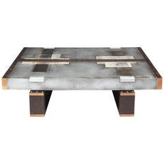 """Divided Lands"" Coffee Table in Etched Zinc and Charred Oak by Studio Roeper"