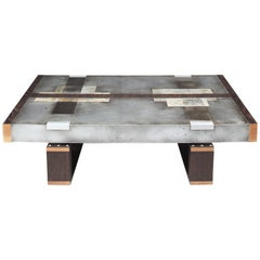 """""""Divided Lands"""" Coffee Table in Etched Zinc and Charred Oak by Studio Roeper"""