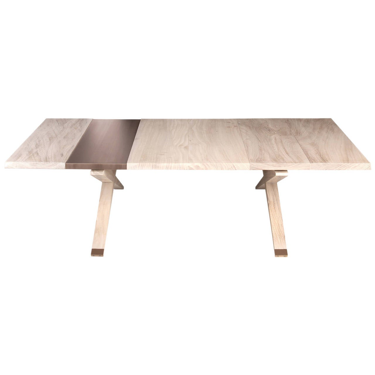 """Hollywood"" Coffee Table in Snowy Elm and Brushed Bronze by Studio Roeper"