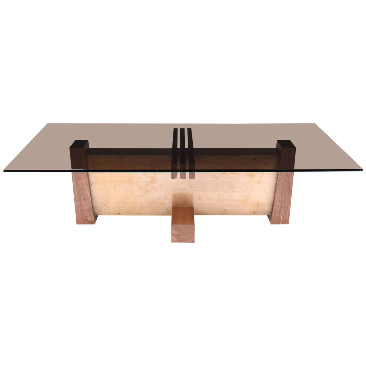 Flw Coffee Table In Smoked Glass Walnut And Etched Bronze By Studio Roeper For Sale At 1stdibs