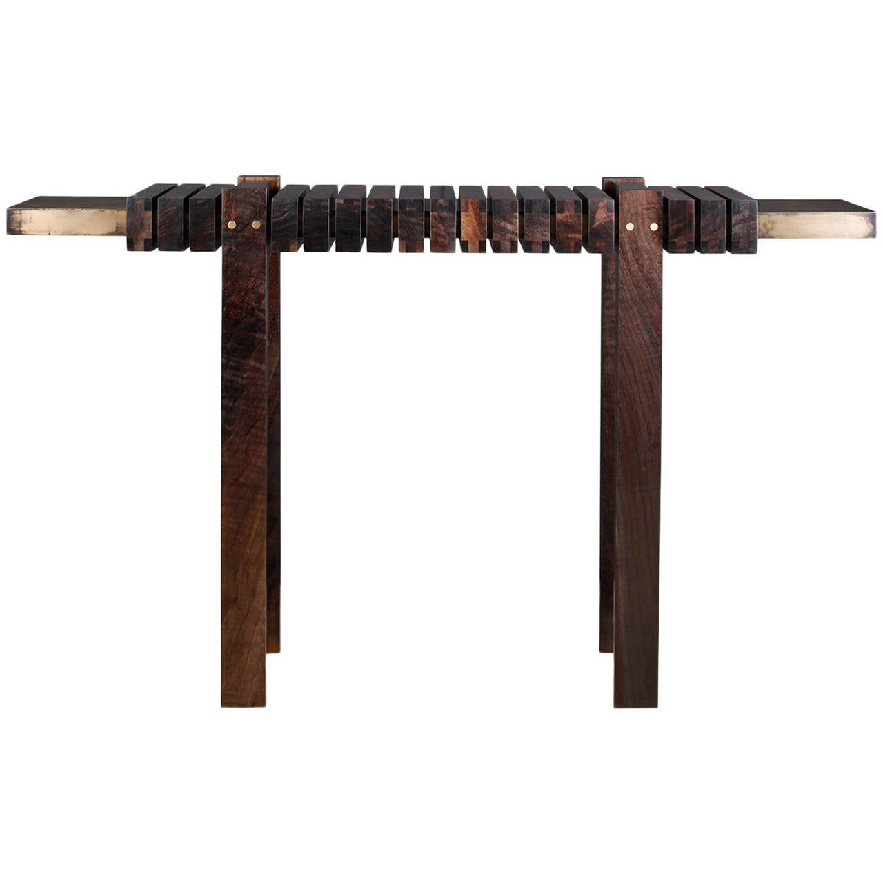 """The Bridge"" Console Table in Smoked Walnut and Etched Bronze by Studio Roeper"