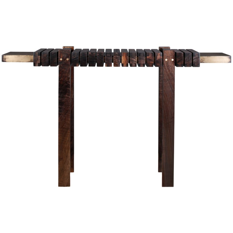 """The Bridge"" Console Table in Smoked Walnut and Etched Bronze by Studio Roeper For Sale"