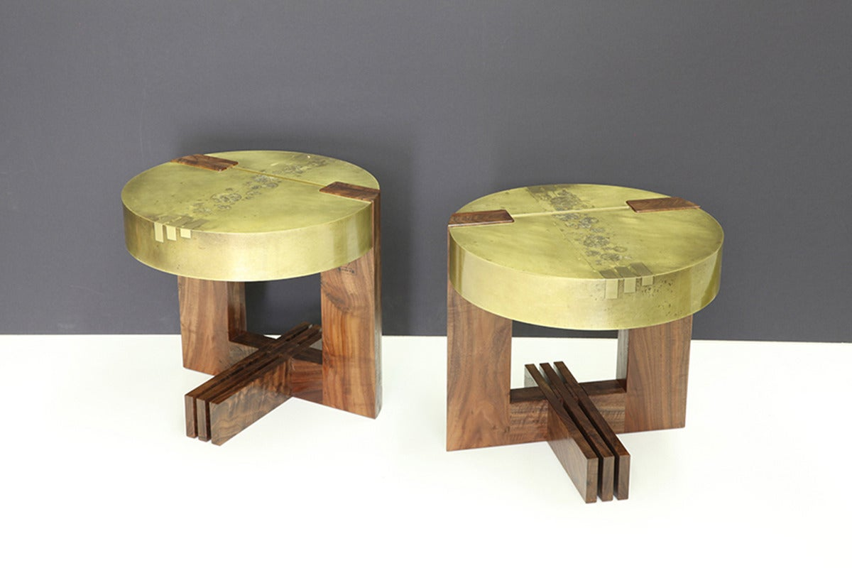 """""""3-2-1"""" Round Side Table in Etched Brass and Walnut by Studio Roeper In Excellent Condition For Sale In San Francisco, CA"""