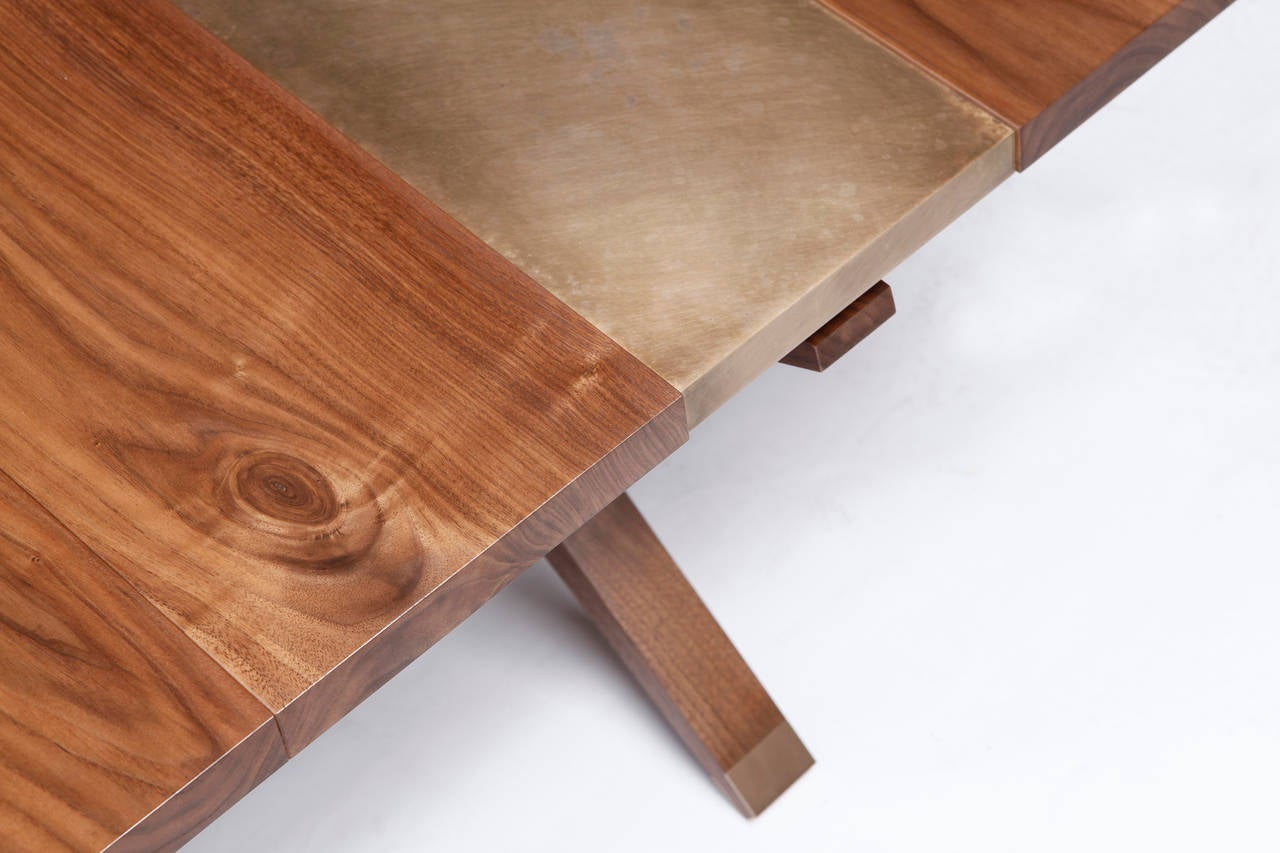 """Hollywood"" Coffee Table in Walnut and Etched Bronze by Studio Roeper 2"
