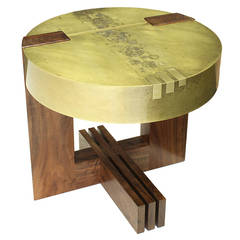 """3-2-1"" Round Side Table in Etched Brass and Walnut by Studio Roeper"