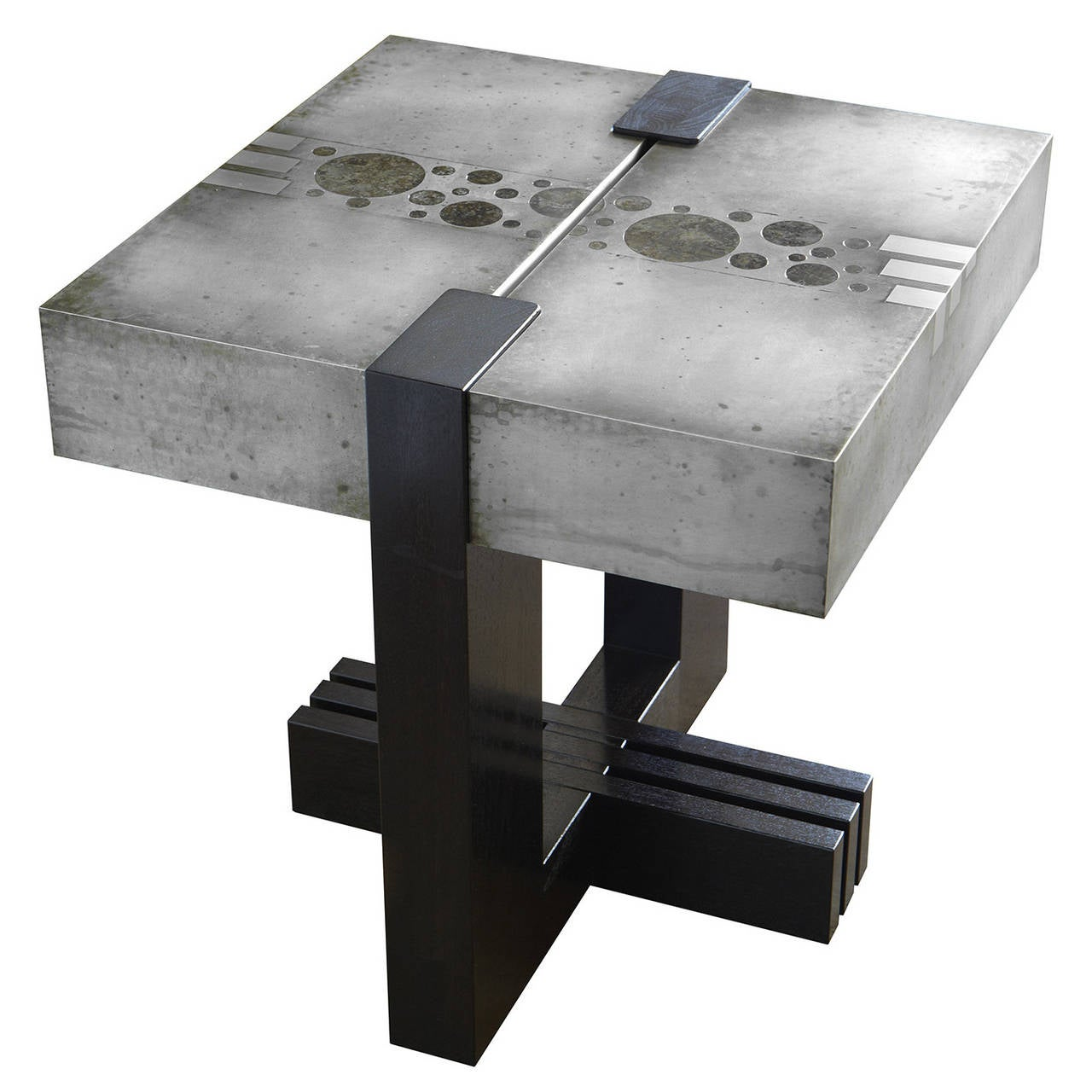 """3-2-1"" Side Table in Etched Zinc and Ebonized Walnut by Studio Roeper"