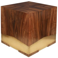 """""""Soil"""" Side Table in California Black Walnut and Etched Bronze by Studio Roeper"""