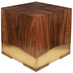 """Soil"" Side Table in California Black Walnut and Etched Bronze by Studio Roeper"