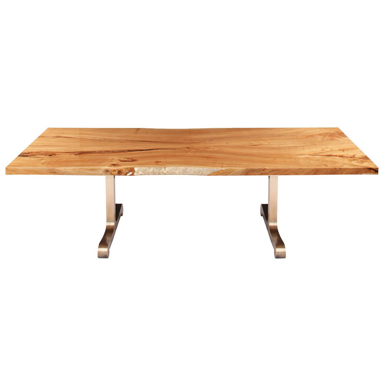 """Vienna"" Dining Table in American Elm and Cast Bronze by Studio Roeper"