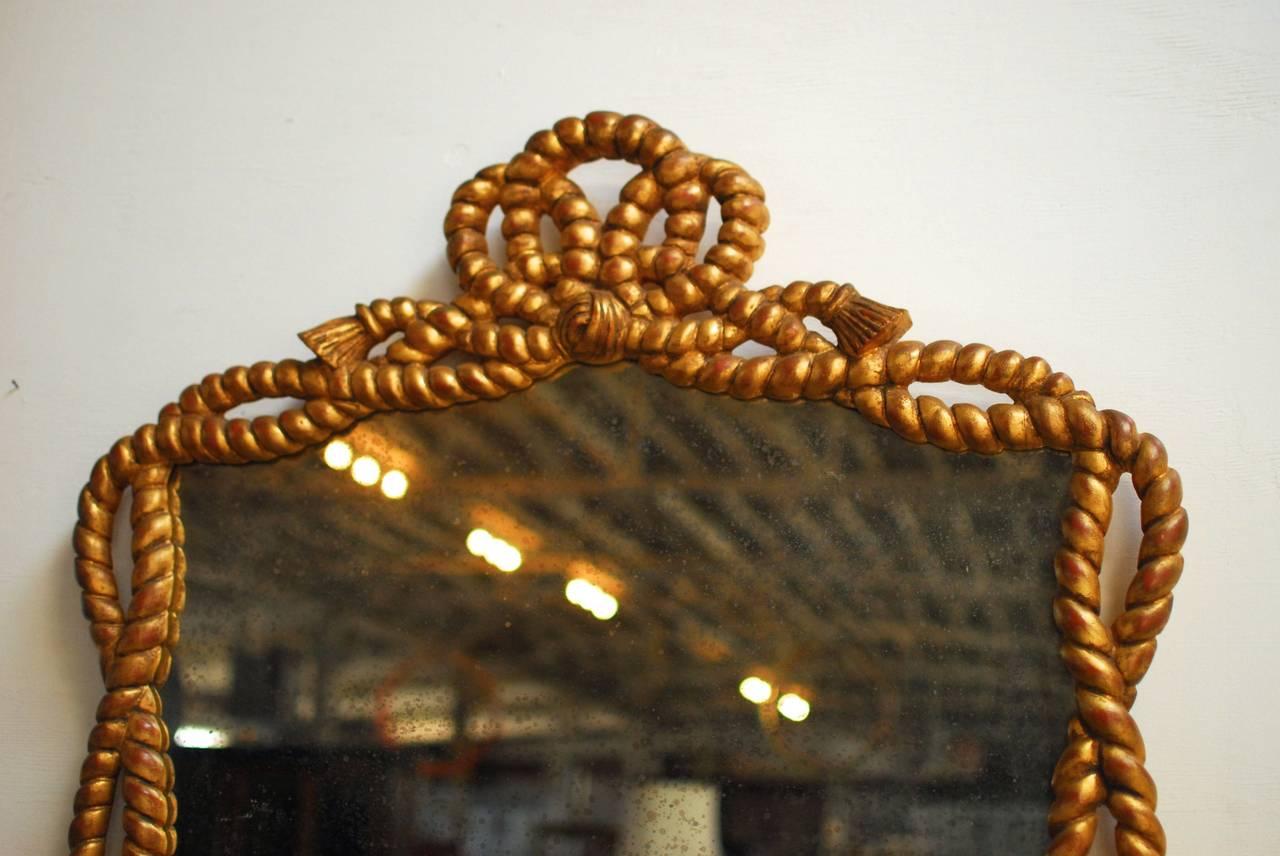 Napoleon III Carved Giltwood Rope Twist Mirror 2