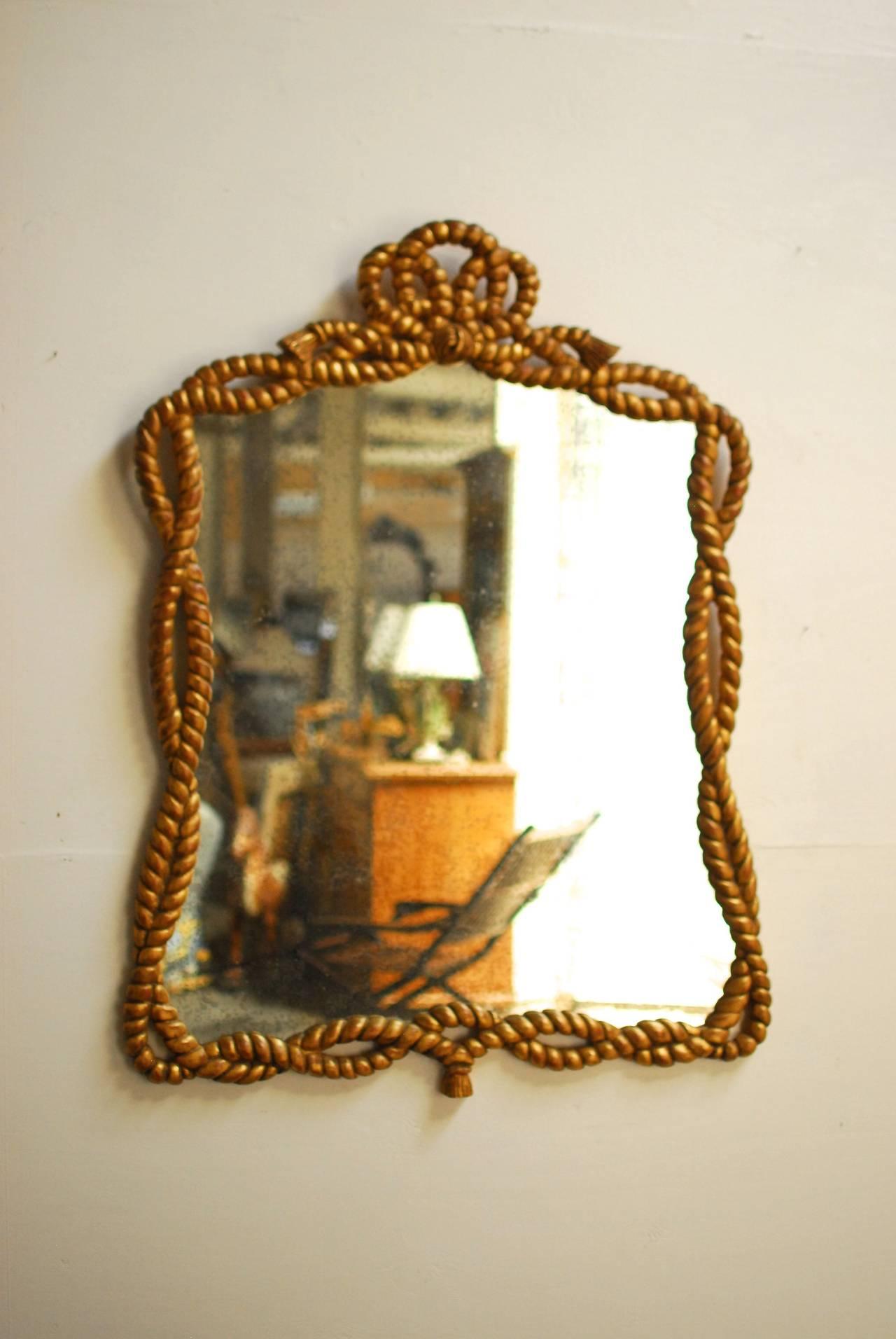 Napoleon III Carved Giltwood Rope Twist Mirror 5