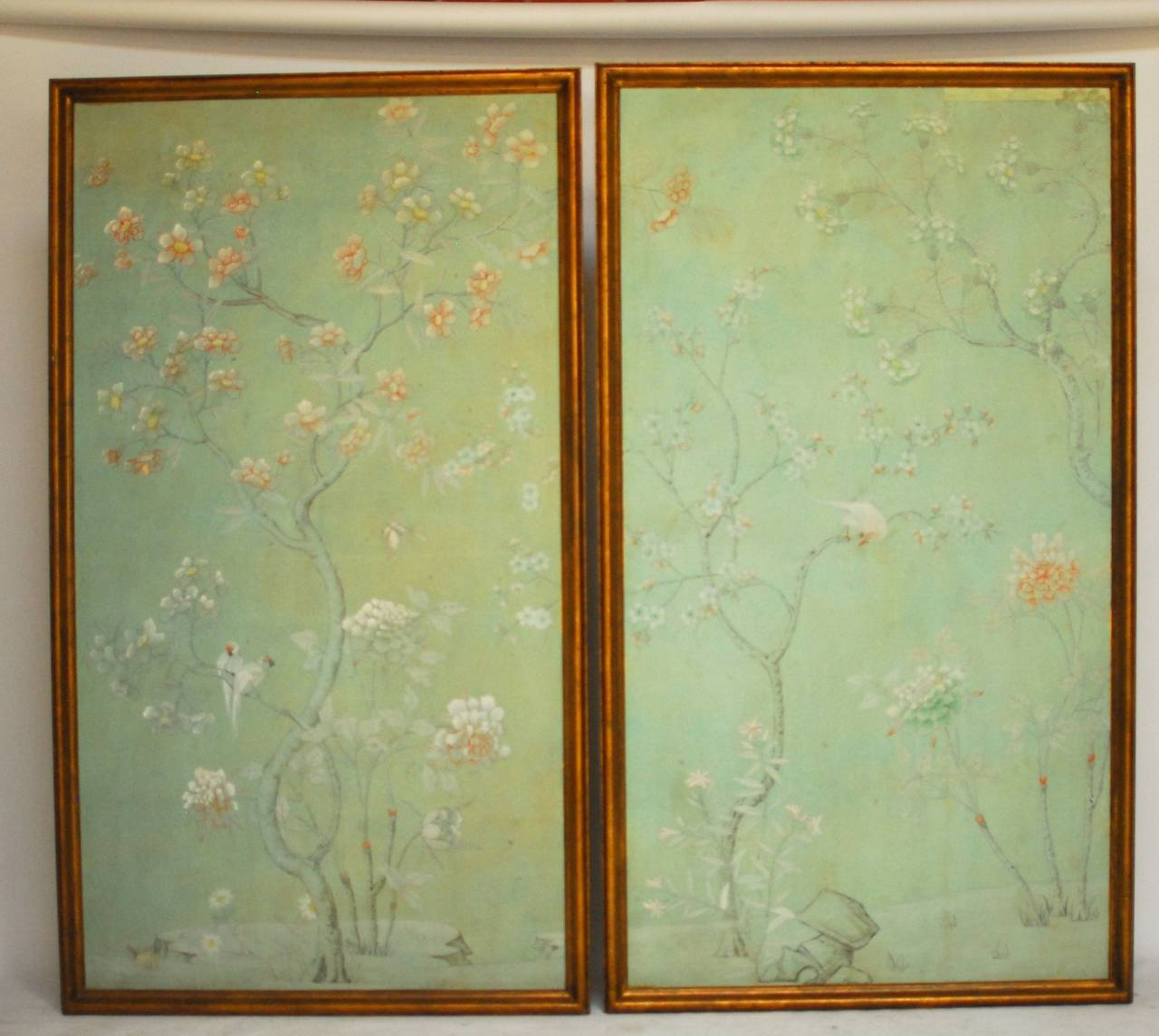 pair of chinoiserie wallpaper panels for sale at 1stdibs