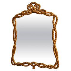 Napoleon III Carved Giltwood Rope Twist Mirror