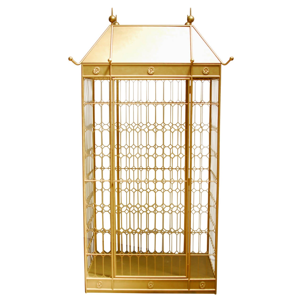 Monumental Hollywood Regency Gilded Bird Cage 1