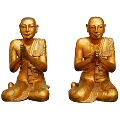 Pair of Carved Giltwood Buddhist Temple Monk Statues