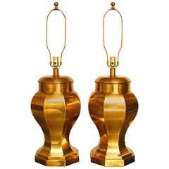 Frederick Cooper Chinoiserie Brass Ginger Jar Lamps