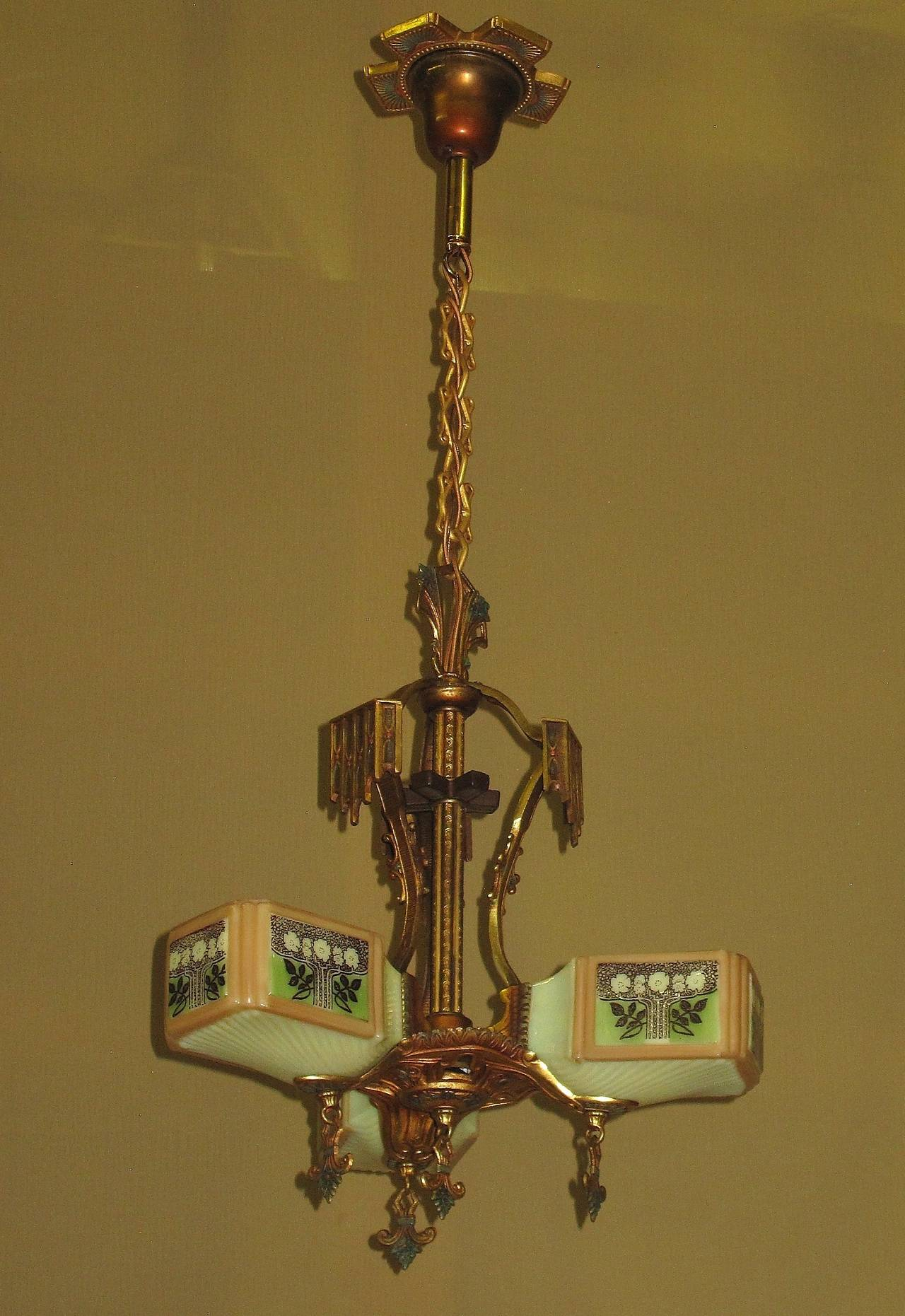 Gill Three Light Ceiling Fixture With Original Colors And