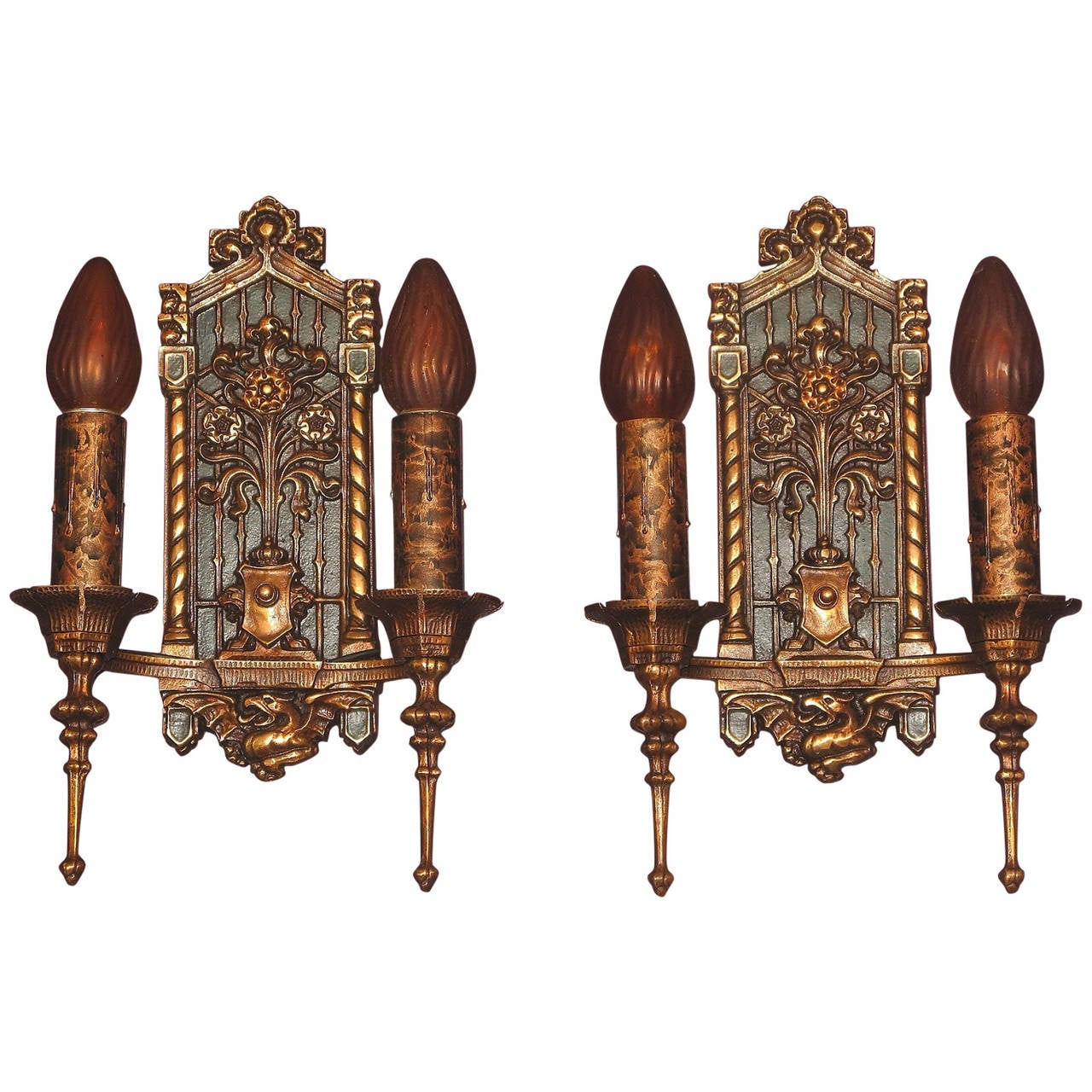 Gothic Wall Sconces: Bronze 1920s Tudor Gothic Wall Sconces At 1stdibs
